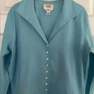 Talbots turquoise scalloped bottom blouse